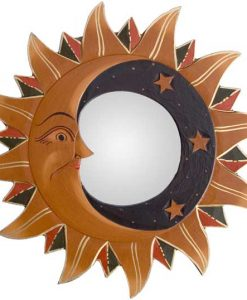 Gold Sun, Moon & Stars Mirror, 8""