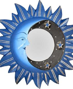 Blue Sun, Moon & Stars Mirror. 8""