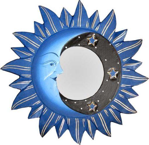 """Blue Sun, Moon & Stars Mirror. 8"""""""
