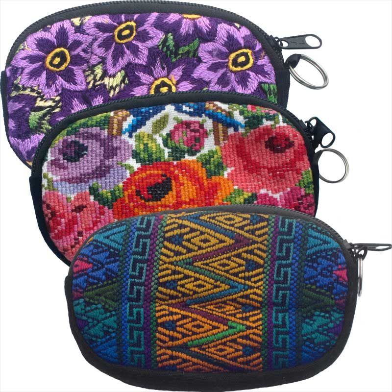 Oval Cosmetics Purse with Key Ring