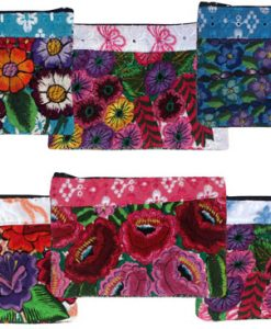Large Floral Embroidery Huipil Coin Purse