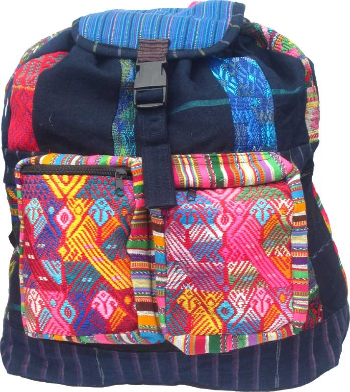 Colorful Patch & Denim Color Backpack