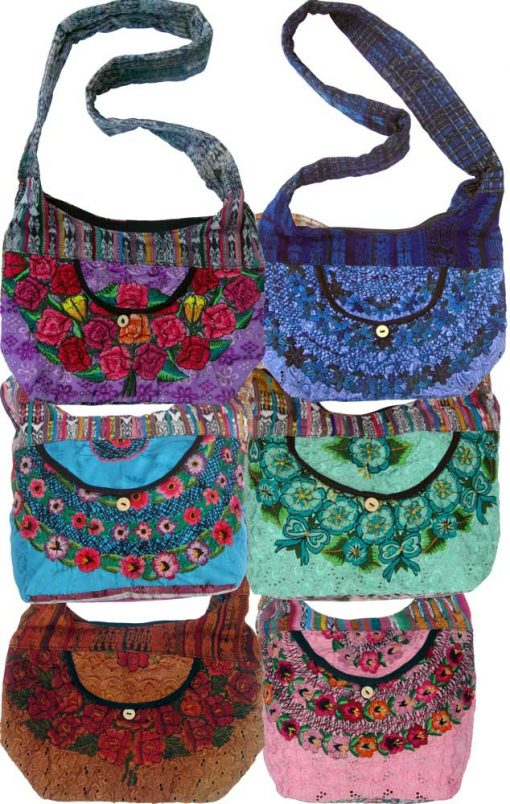 Floral Embroidery Huipil and Eyelet Lace Shoulder Bag,Small