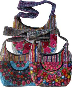 Floral Embroidery Huipil and Eyelet Lace Shoulder Bag