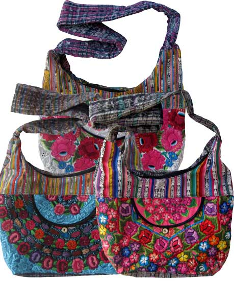 Floral Embroidery Huipil and Eyelet Lace Shoulder Bag