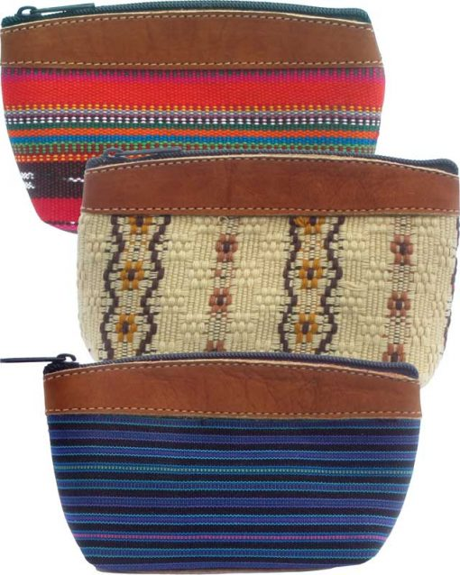 Small Cosmetic Purse with Suede Top & Bottom