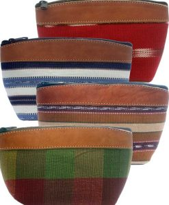Medium Cosmetic Purse with Suede Top & Bottom