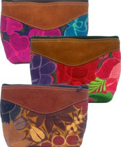 Large Cosmetic Purse with Suede Top & Bottom