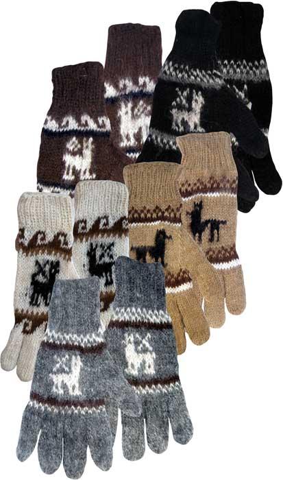 Alpaca Gloves With Knit Llama Pattern In Natural Brown Black Grey
