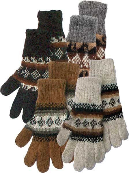 Alpaca Gloves with Knit Geometric Designs