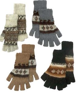Alpaca Fingerless Gloves with Knit Geometric Designs