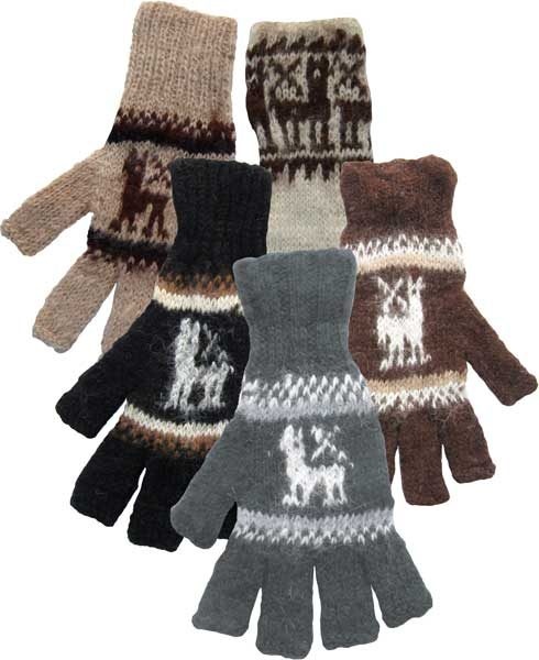 Alpaca Fingerless Gloves with Knit Llama Pattern