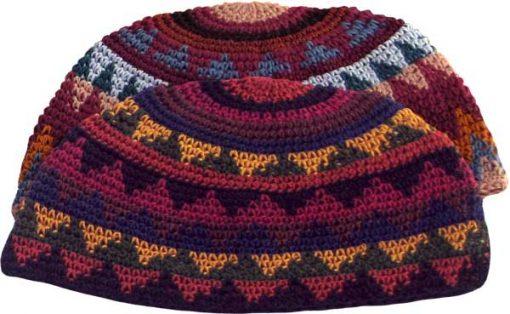 Cotton Crocheted Beanie in Earthtones