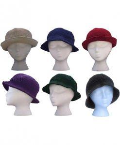 Crocheted Cotton Solid Color Hat w/brim