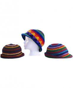 Crocheted Cotton Multicolor Hat w/brim.