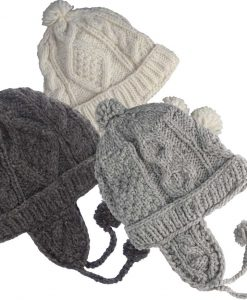 Cable Knit 100 Per Cent Wool Cap with Earflaps and Polar Fleece Lining