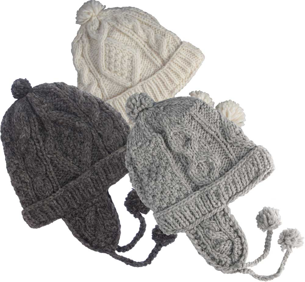529866b071a79e Cable Knit 100 Per Cent Wool Cap with Earflaps and Polar Fleece Lining