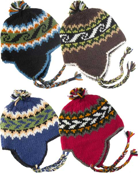 a3343fb7 Knit Wool Hat with Earflaps and Polar-Fleece - Turtle Island Imports