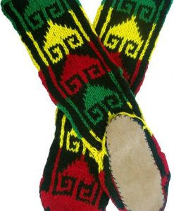 Leather Soled Wool-Rayon Slipper Socks in Rasta Colors