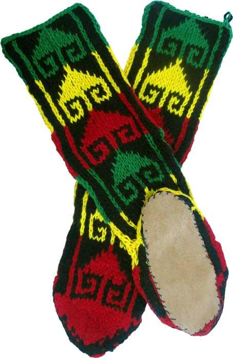 Leather Soled Wool-Rayon Slipper Socks in Rasta Colors