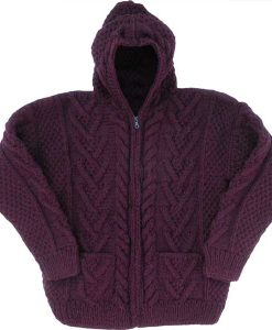 Plum Cable Knit Wool Sweater with Zipper & Hood