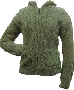 Avocado Green Cable Knit Wool Sweater with Zipper & Hood