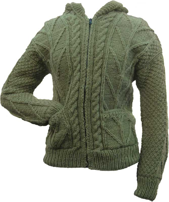 Avocado Green Cable Knit Wool Sweater With Zipper Hood Turtle