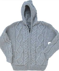 Light Gray Cable Knit Wool Sweater with Zipper & Hood