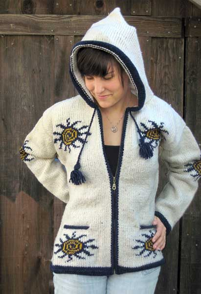 White Spiral Sun Sweater with Hood