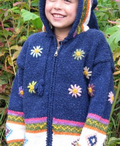 Blue Flowered Child`s Cardigan with Pointy Hood