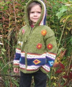 Green Flowered Child`s Cardigan with Pointy Hood