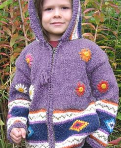 Purple Flowered Child`s Cardigan with Pointy Hood