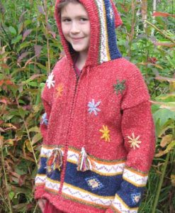 Red Flowered Child`s Cardigan with Pointy Hood