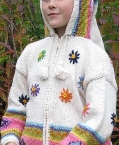 White Flowered Child`s Cardigan with Pointy Hood