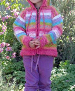 Pastel Rainbow Child`s Cardigan with Hood