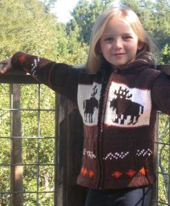 Child`s Brown Moose Cardigan