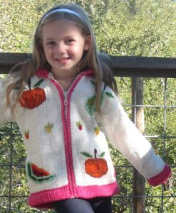 Child`s Pointy Hooded Fruit Salad Cardigan