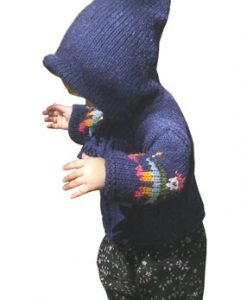 Blue Child`s Cardigan with People Motif and Pointy Hood