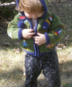 Green Child`s Cardigan with People Motif and Pointy Hood