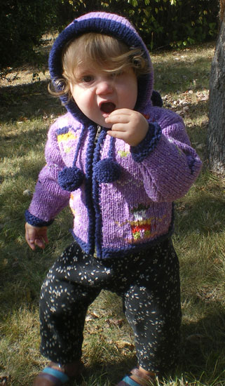 Purple Child`s Cardigan with People Motif and Pointy Hood
