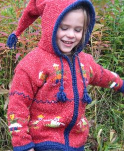 Red Child`s Cardigan with People Motif and Pointy Hood