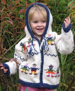 White Child`s Cardigan with People Motif and Pointy Hood