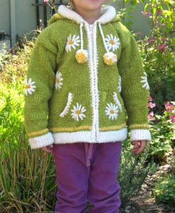 Yellow Green Child`s Cardigan with Pointy Hood