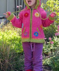 Pink Child`s Cardigan with Pointy Hood