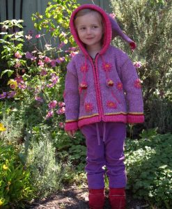 Purple Child`s Cardigan with Pointy Hood