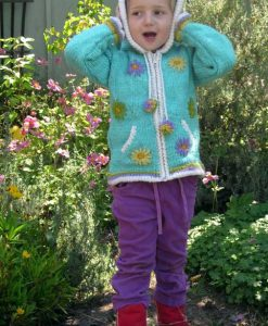 Turquoise Child`s Cardigan with Pointy Hood