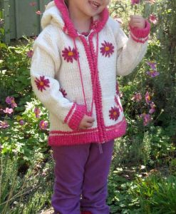White Child`s Cardigan with Pointy Hood