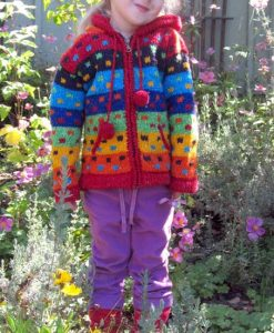 Rainbow Child`s Cardigan with Pointy Hood
