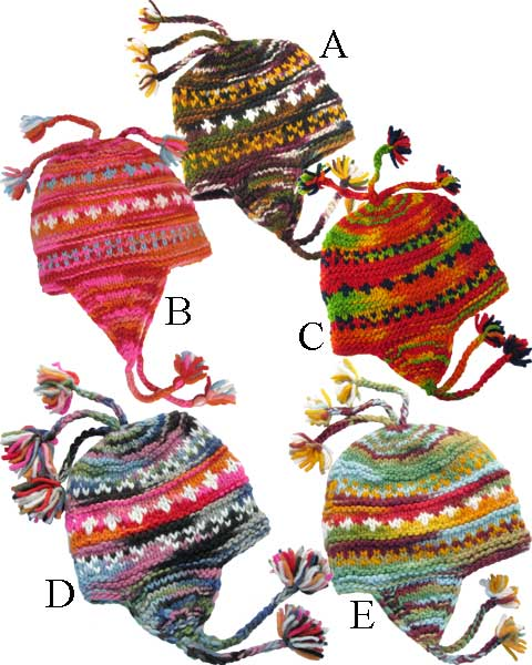 Multicolor Earflap Beanie with Tassels in Wool