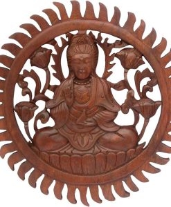 Wood Quan Yin Mandala, 12 inches